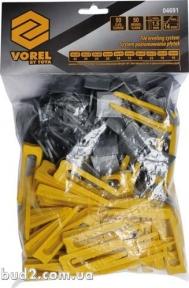 Система выравнивания плитки СВП Клипсы и клины комплект VOREL 50+50(шт/уп) (04691)