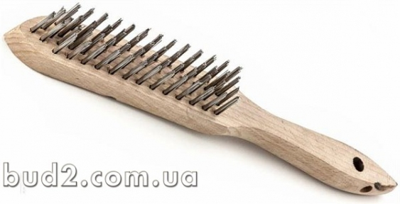 Щетка металлическая деревянная ручка 4-х рядная (748225)