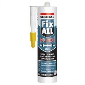 Клей-герметик SOUDAL FIX ALL клей (белый) 280 мл.
