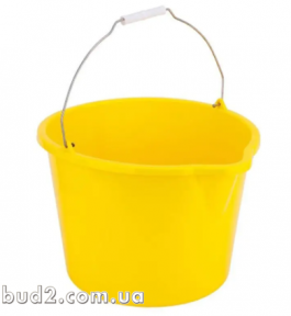 Ведро пищевое пластиковое с носиком, желтое, 12 л