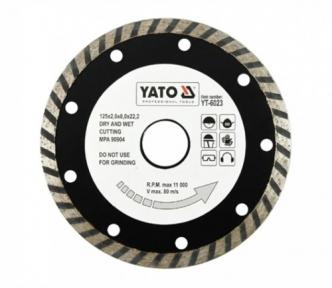 Диск отрезной алмазный ТУРБО 125х8х22,2мм, 2,6 мм  YATO (YT-6023)